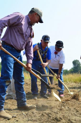 Groundbreaking August 2018. (L-R): Daniel Brownlee (hatchery manager), Mel Sampson, and Davis Washines (YN)