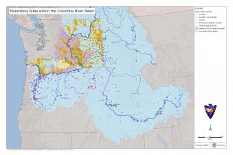 Map of Columbia River Basin Hazardous Sites